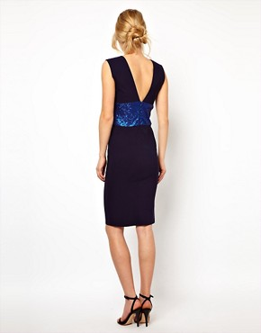 Image 2 ofTempest Hattie Pencil Dress with Plunge Neck and Sequin Waist