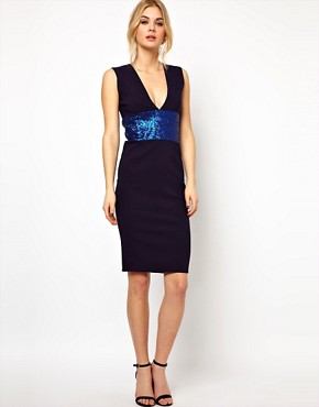 Image 4 ofTempest Hattie Pencil Dress with Plunge Neck and Sequin Waist