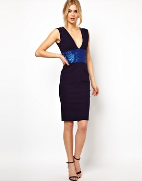 Image 1 ofTempest Hattie Pencil Dress with Plunge Neck and Sequin Waist