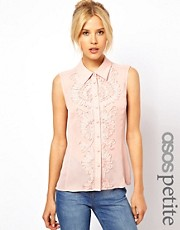 ASOS PETITE Exclusive Sleeveless Shirt With Ribbon Detail