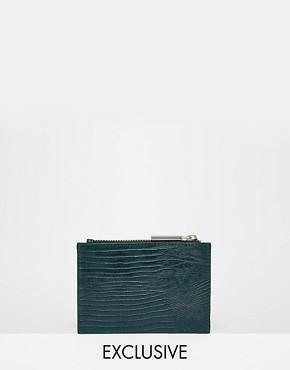 Whistles Exclusive Leather Coin Purse in Forest Green