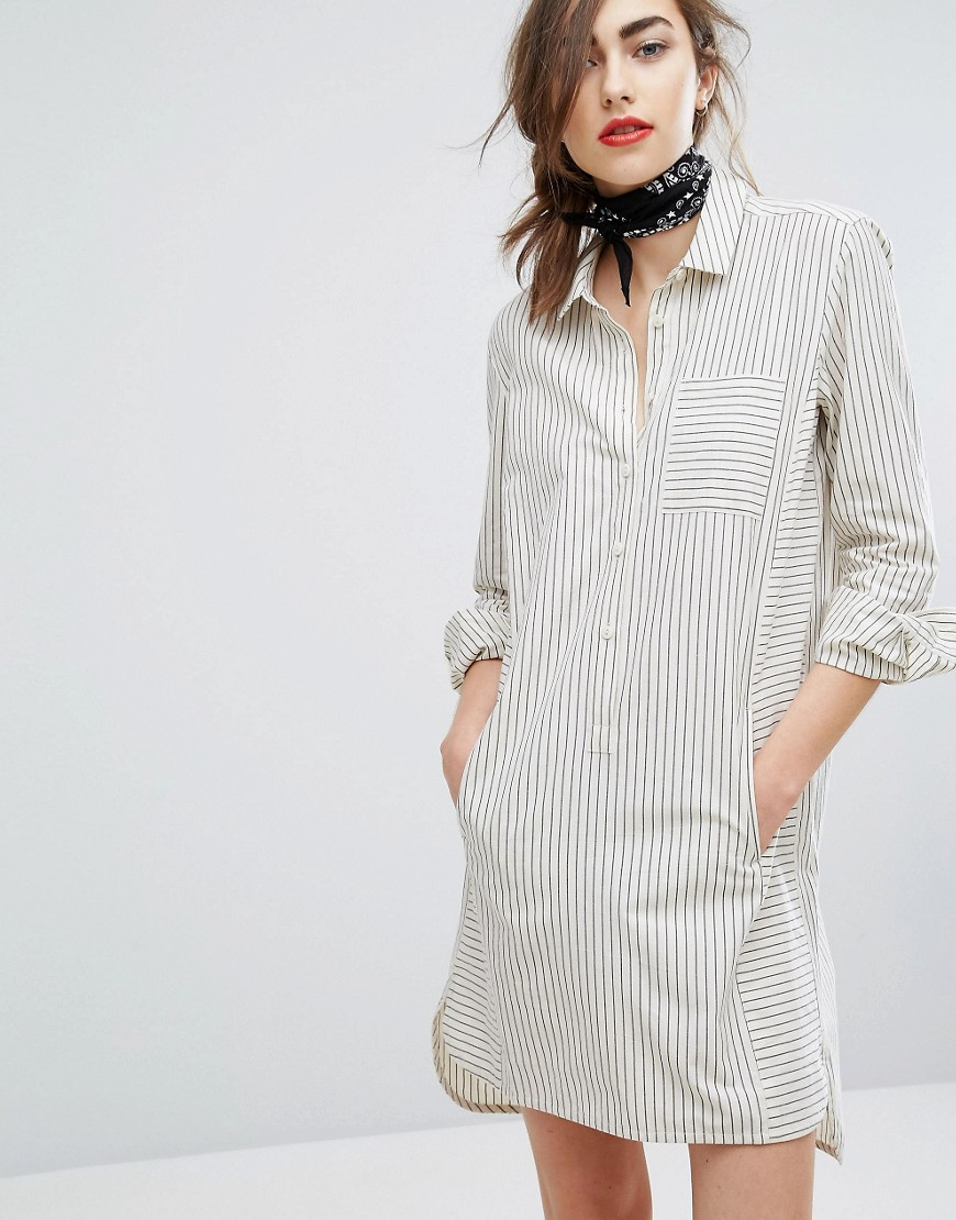 People Tree Hand Woven Oversized Shirt Dress In Light Stripe - Grey
