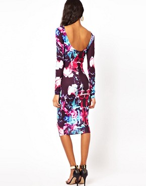 Image 2 of ASOS Midi Bodycon In Coloured Graphic