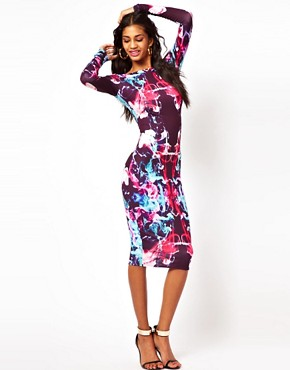 Image 4 of ASOS Midi Bodycon In Coloured Graphic