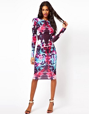 Image 1 of ASOS Midi Bodycon In Coloured Graphic