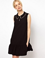 Boutique by Jaeger Dress with Embroidered Peter Pan Colour