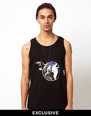 Reclaimed Vintage Tank with Wolf Print