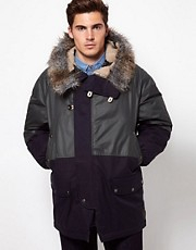 Paul Smith Jeans Parka with Faux Fur