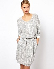 Selected Norma Printed Dress with Zip Detail