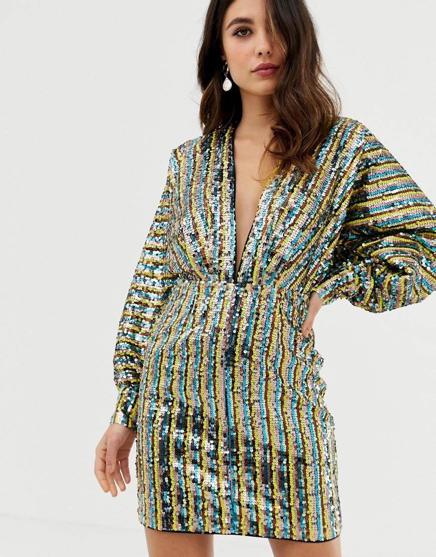 asos design - Gestreiftes Kimono-Minikleid mit Paillettenverzierung und Fledermausärmeln - Mehrfarbig