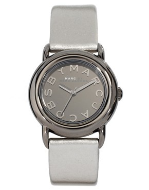Image 1 ofMarc by Marc Jacobs Silver Leather Strap Watch