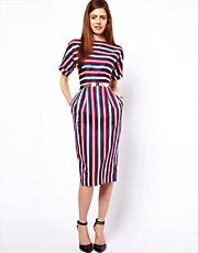 ASOS Wiggle Dress In Stripe Print