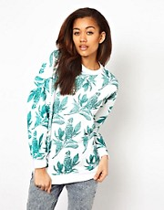 Illustrated People Hibiscus Print Sweatshirt