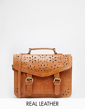 ASOS Leather Satchel Bag With Cut Out Detail