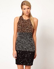 French Connection Colour Block Sequin Vest Dress