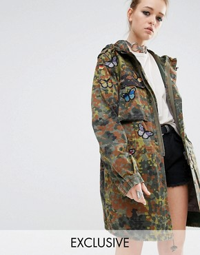 Reclaimed Vintage Military Parka Coat In Camo With Butterfly Patches
