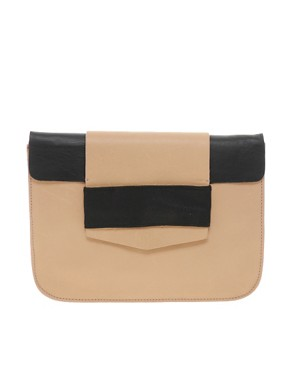 Image 1 of ASOS WHITE Leather Elastic Clutch