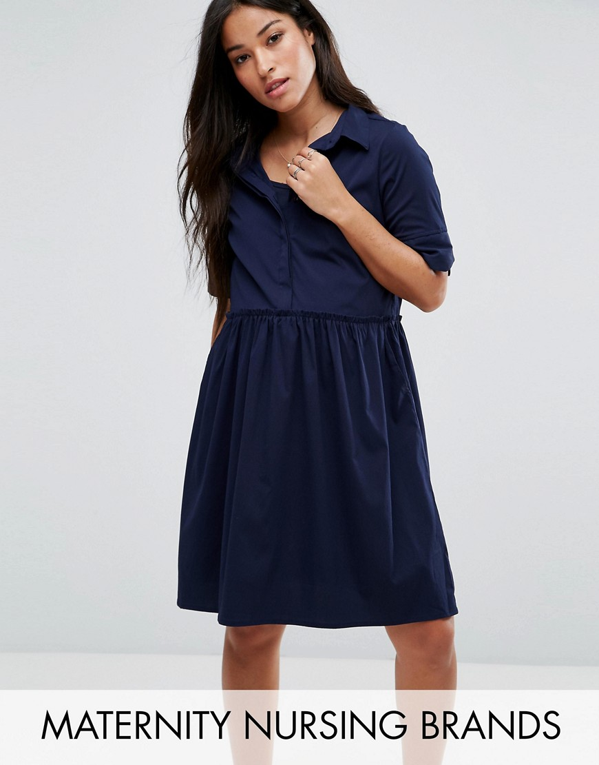 Mamalicious Nursing Shirt Dress - Navy