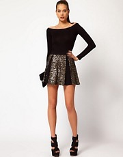 Hunt No More &#39;Right Now&#39; Sequin Insert Skater Skirt