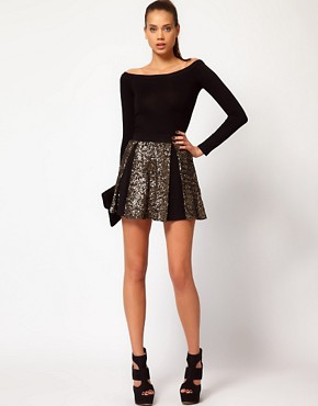 Image 1 ofHunt No More &#39;Right Now&#39; Sequin Insert Skater Skirt