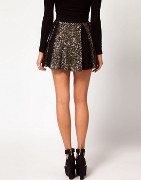 Image 2 ofHunt No More &#39;Right Now&#39; Sequin Insert Skater Skirt