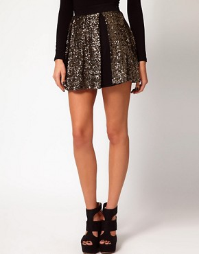 Image 4 ofHunt No More &#39;Right Now&#39; Sequin Insert Skater Skirt