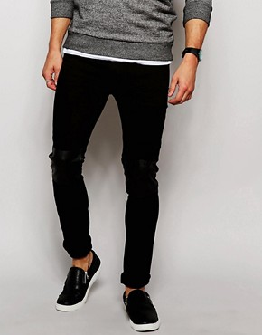 Religion Noize Skinny Fit Black Jeans with Faux Leather Patches