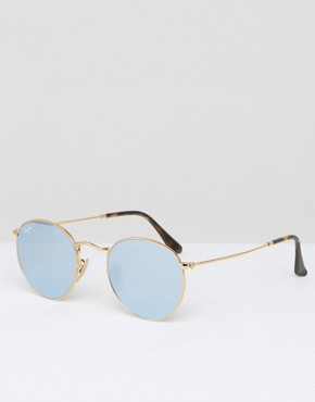 Ray-Ban Round Sunglasses With Flash Lens 0RB3447