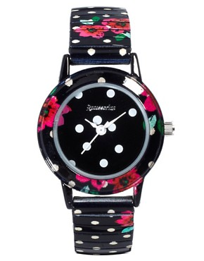 Image 1 ofAccessorize Spot &amp; Flower Watch