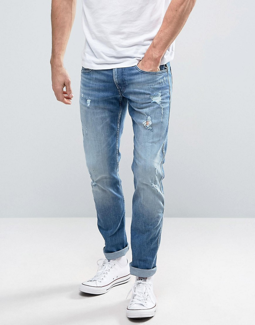 Replay Anbass Slim Fit Jeans Ripped Light Wash - 17b942r
