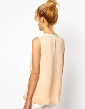 Image 2 ofASOS Top With Keyhole Neck And Contrast Trim