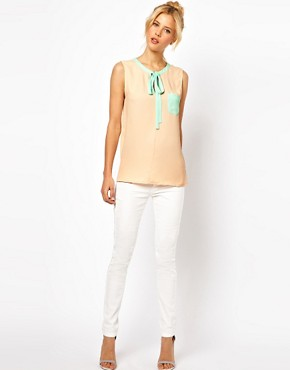 Image 4 ofASOS Top With Keyhole Neck And Contrast Trim