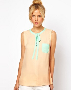 Image 1 ofASOS Top With Keyhole Neck And Contrast Trim