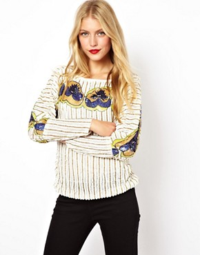 Image 1 ofASOS Top with Pansy All Over Embellishment