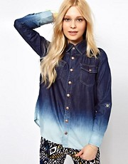 b + ab Denim Shirt With Ombre Effect