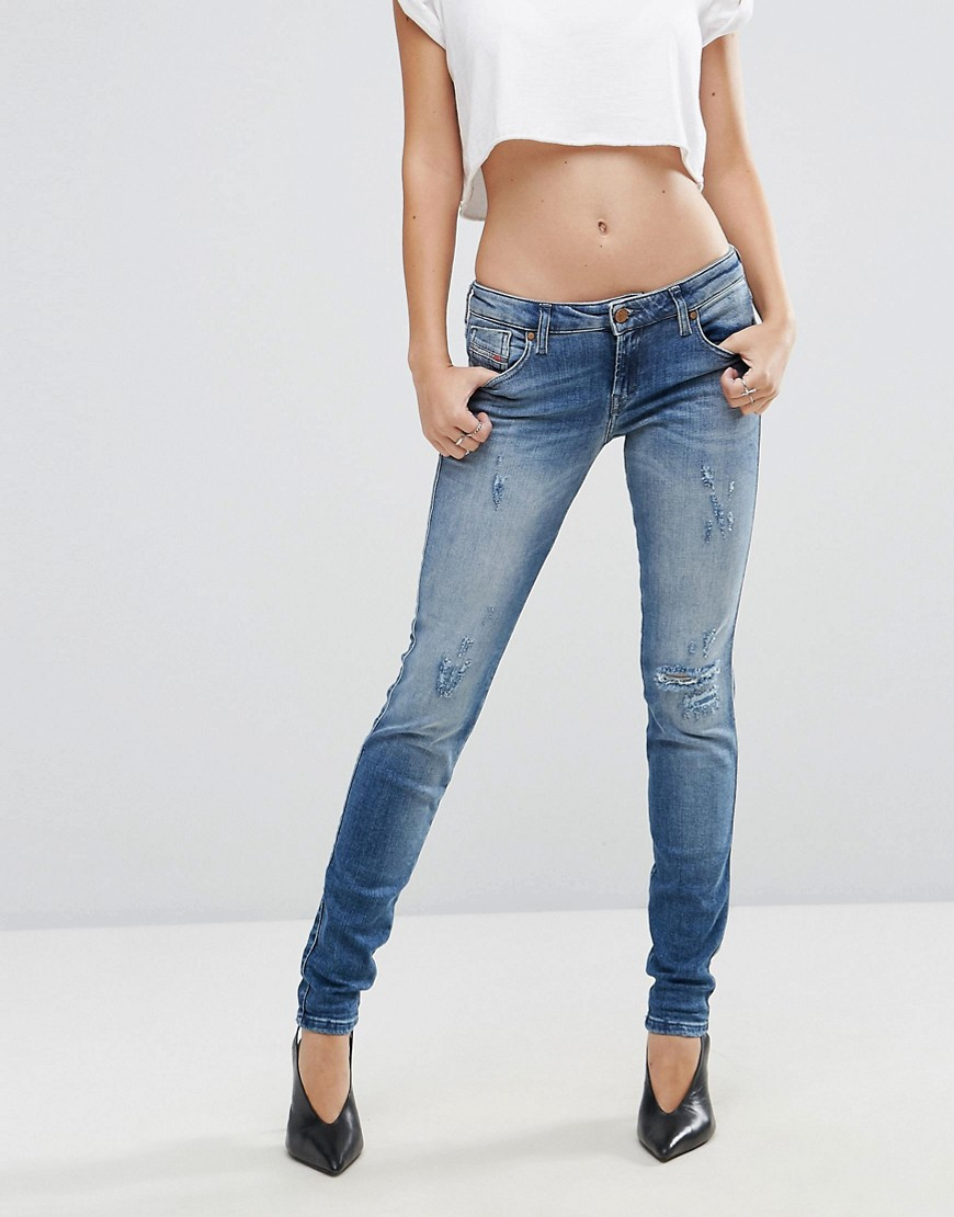 Diesel Gracey Low Waist Skinny Jean with Ripped Knee - Light wash blue
