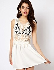 Reverse Skater Dress With Lace Top