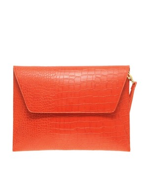 Image 1 ofASOS Envelope Laptop Case In Faux Croc Effect