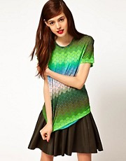 Jonathan Saunders Boyfriend T-Shirt in Ombre Polka Dot