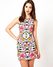 A Wear Tropical Print Bodycon Dress