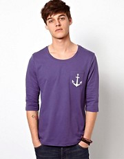 ASOS  T-Shirt mit 3/4-rmeln und Anker-Aufdruck auf der Brusttasche