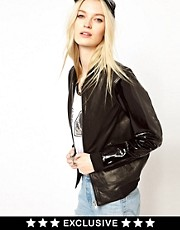 HIDE Exclusive to ASOS Sasha Leather Bomber Jacket in Black with Patent Sleeves