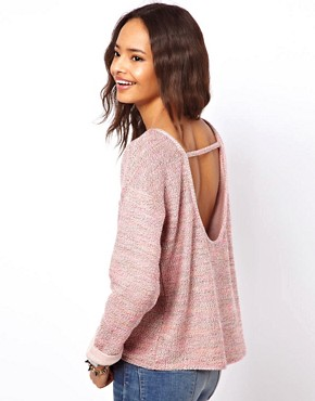 Image 1 ofASOS Jumper with Open Back in Multi Colour Yarn