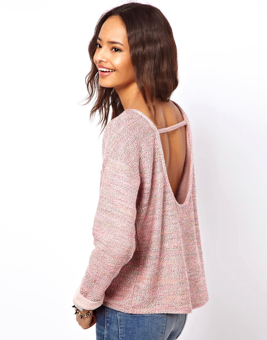 Image 1 of ASOS Jumper with Open Back in Multi Colour Yarn
