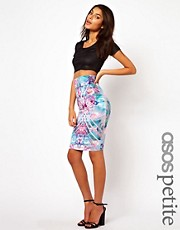 ASOS PETITE Exclusive Pencil Skirt In Mirrored Print