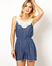 Pepe Jeans Printed Playsuit With Crochet Top