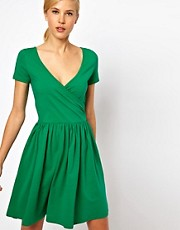 ASOS Skater Dress With Ballet Wrap And Short Sleeves.