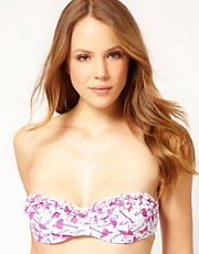 ASOS Flamingo Print Ruffle Bandeau