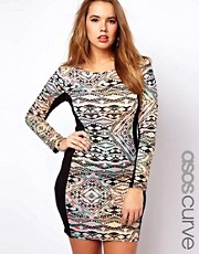 ASOS Curve Exclusive Bodycon Dress With Panelled Print