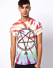 Abandon Ship - T-shirt tie-dye con stampa esclusiva di pentacolo